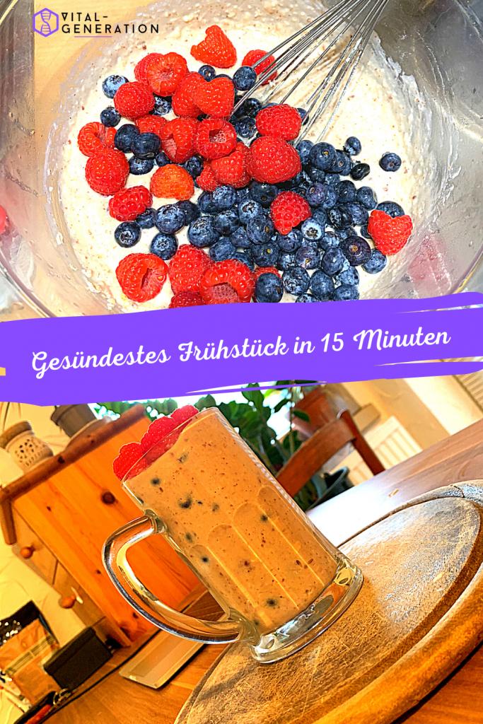 Haferflocken, Erdbeeren und Blaubeeren - Frühstück 1